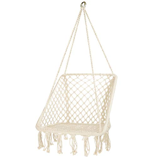 E EVERKING Hanging Hammock Chair Macrame Swing, Handmade Cotton Rope Swing Chair, Square Ergonomic Bohemian Design Hanging Chairs for Indoor, Outdoor, Patio, Porch, Deck, Yard, Garden, 260LBS Capacity