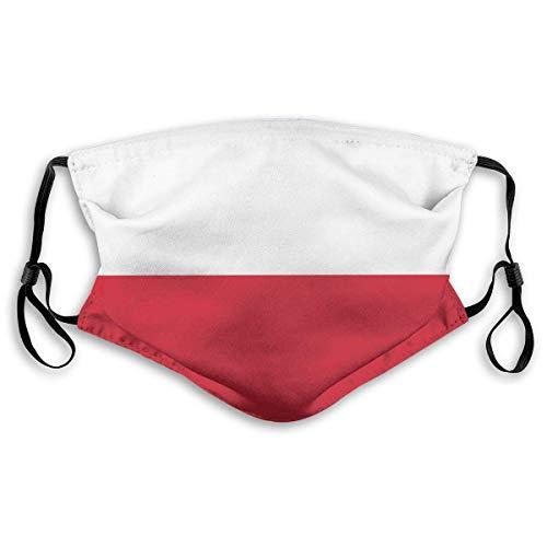 IUBBKI Polen Große Flagge Mundabdeckung Unisex Wiederverwendbare waschbare Gesichtsabdeckung CreativeforFace Schal Bandana mit Zwei Filtern