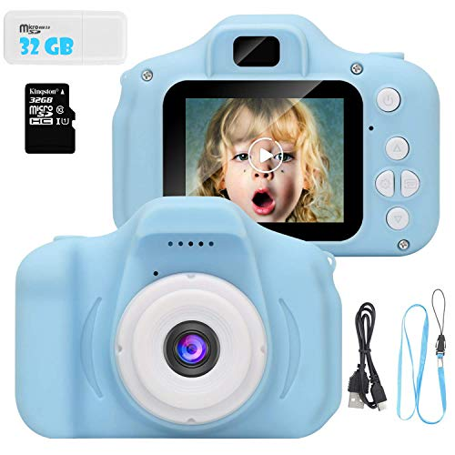 ArtJ4U Kids Digital Video Camera for Girls 3-10 Years Old,5 MP Rechargeable Camera Shockproof 1080P HD Cameras Camcorder for Girls Kids Toddler Indoor Outdoor Travel(32GB Memory Card Included) (Blue)