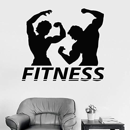 Calcomanía de pared de fitness pareja músculo culturismo gimnasio decoración de interiores ventana vinilo pegatina mural de postura