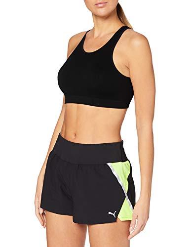 PUMA Run Woven 3` Short Pantalones Cortos, Mujer, Puma Black/Fizzy Yellow, S