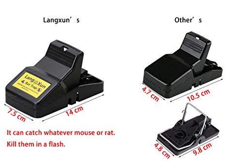 LANGXUN Rattenfalle Mausefalle Leistungsstarke, benutzerfreundliche, effiziente und schnelle Tötung Mit Latexhandschuhen, die für Küche, Garten und Lager geeignet sind (6 Pack) - 5