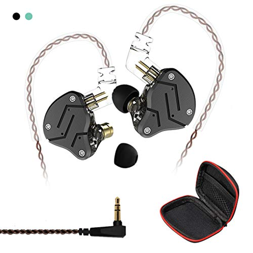 Andiker KZ ZSN-C Quad Driver Earphones DD+BA Hybrid Technology Electronic Crossover Wired Headset, Detachable Cable Heavy Bass Stereo in-Ear Earbuds with Storage Box (ZSN-C No mic, Black)
