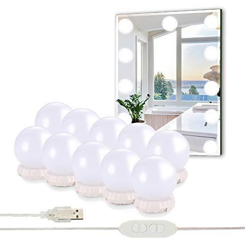 STN Luces de Espejo de Tocador Espejo de Maquillaje LED Kit,10 Bombillas Dimmable 3 Modos De Color y 10 De Brillo, Para Diy Maquillaje Espejos Vestidor Baño Luz - Nuevo(Sin Espejo y Cargador Usb)