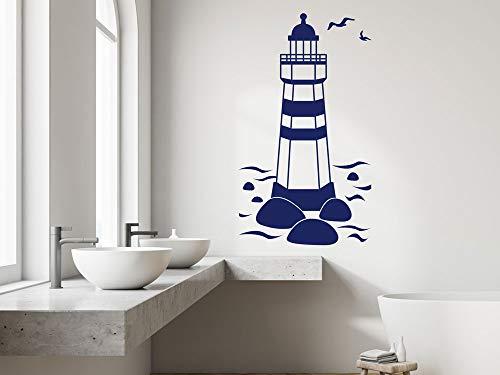 GRAZDesign Wandbild Leuchtturm Hochformat - Maritime Deko Küstenlandschaft mit Möwen / 100x57cm / 034 orange