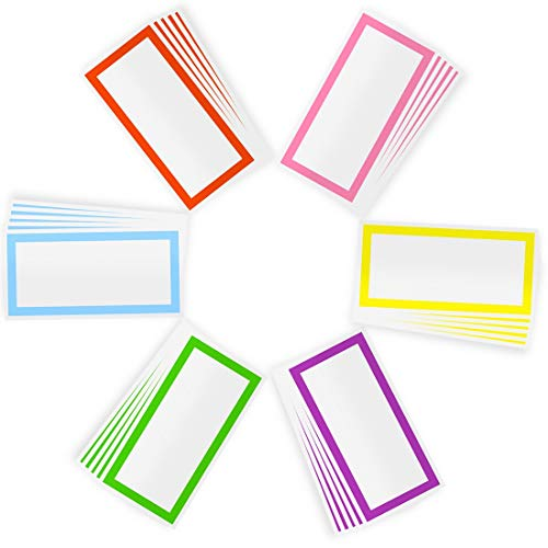 Waterproof Name Tag Sticker, 2'x 4' 300pcs Mlife Colorful Plain Labels Color-Coding Labels 6-Color