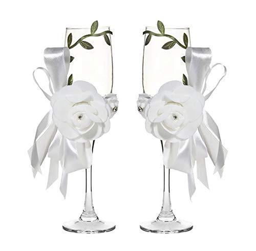 Copas de vino con perlas de 7 oz para decoración de copas de vino hechas a mano, copas de champán para tostar, regalos de boda, regalos para parejas, decoraciones de boda Blanco-c