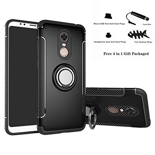 Labanema Xiaomi Redmi 5 Plus Funda, 360 Rotating Ring Grip Stand Holder Capa TPU...
