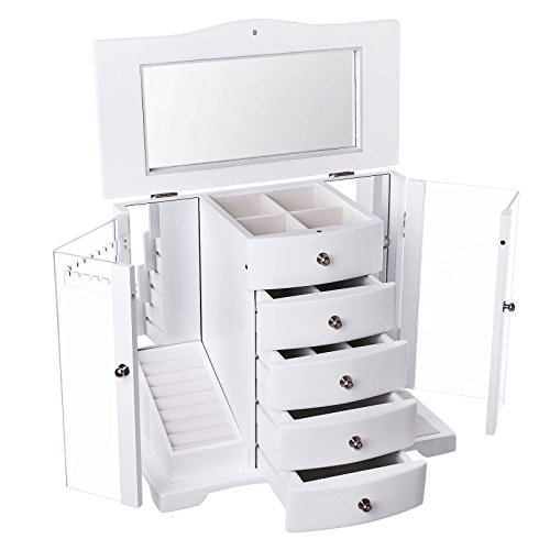 SONGMICS JBC57W Large Wooden Jewellery Box with door made of Clear Acrylic, 4 Drawers White Country House