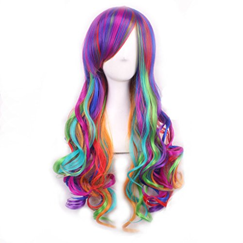 Long Big Wavy Wigs Gothic Lolita Cosplay Curly Rainbow Wigs Universal Women Heat Resistant Spiral Colorful Hair for Halloween Custom Cosplay Party Wig