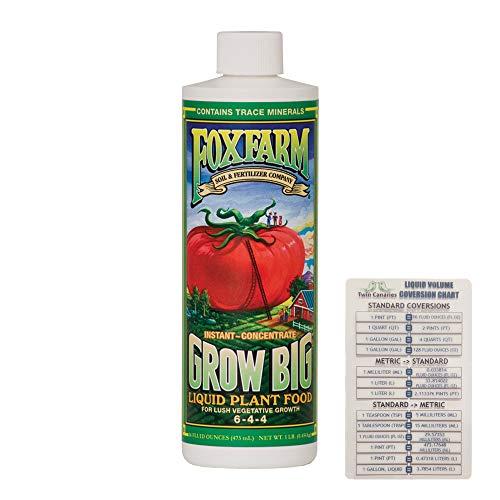 FoxFarm Grow Big Liquid Concentrate, 16 oz (1 Pack) + Twin Canaries Chart