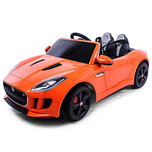 Jaguar Authorized Jaguar F-TYPE 12V Luxury Kids Ride On Car Battery Powered MP3 LED Door Open Kids Vehicle With Remote Control, Orange
