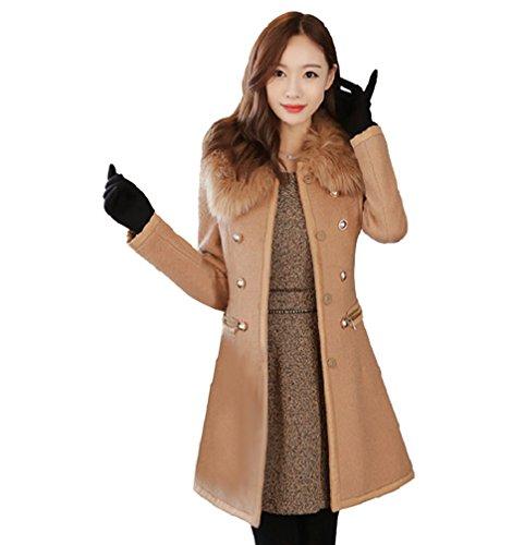 LvRaoo Donna Caldo Cappotto Lungo con Collo Ecopelliccia Slim Fit Doppio Petto Trench Giacche Invernali Outerwear (Cammello, Asia M)