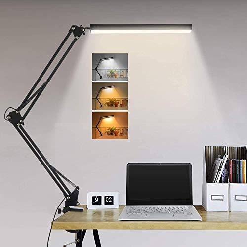 LTXDJ Lámpara de escritorio LED con abrazadera, lámpara de escritorio con brazo oscilante, lámpara de mesa de oficina regulable con luz regulable para el cuidado de los ojos con 3 modos de color