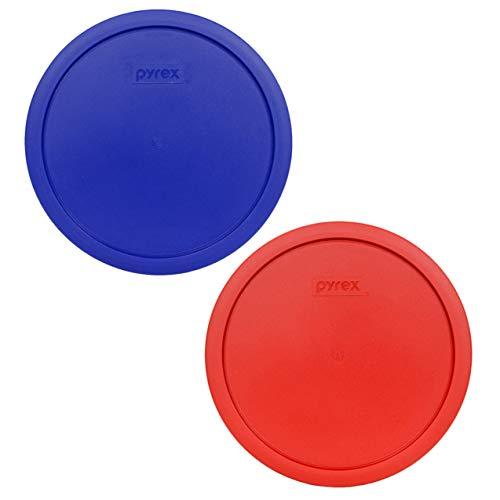 Pyrex 7403-PC 10 Cup (1) Poppy Red (1) Cadet Blue Round Plastic Storage Lids