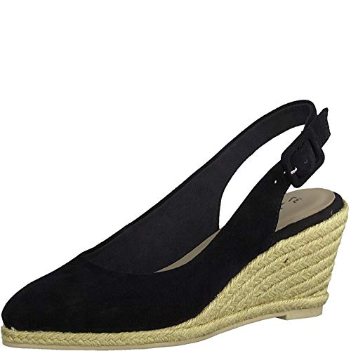 Tamaris Damen Pumps 29613-24, Frauen Keilpumps, leger Keilabsatz Wedge-Pumps absatzschuh weibliche Lady Ladies Women,Black,39 EU / 5.5 UK