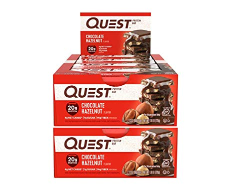 Quest Nutrition Protein Bar Choco Hazelnut. Low Carb Meal Replacement Bar with 20 Grams of Protein. High Fiber, Gluten-Free (24 Count)