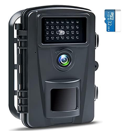 防犯カメラ トレイルカメラ 【PSE認証済】1600万画素 1080PフルHD 90°撮影範囲 屋外カメラ 電池式 暗視カメ...