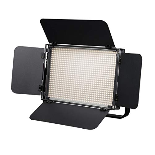 Walimex pro Niova 900 Plus BI Color – LED Videoleuchte Dauerlicht Flächenleuchte, 54 Watt, 900 LED, dimmbar, 3200-5600K, 6.300 Lumen, CRI ≥ 97 Ra, DMX + Fernbedienung, 2X NP-F Akku Slots + Netzteil