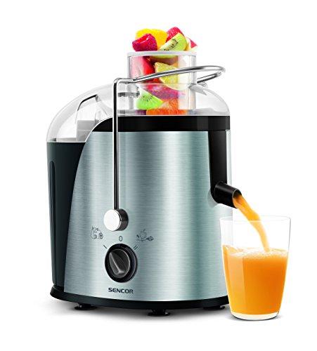 SENCOR SJE 741SS Entsafter Gemüse und Obst (400 Watt, BPA Frei, 2 Geschwindigkeiten) edelstahl