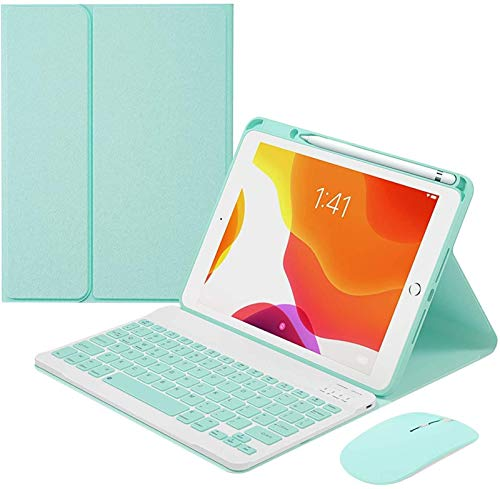 FANG Keyboard Case for Ipad Pro 10.5 Inch, Detachable Wireless Keyboard with Pencil Holder, Keyboard with Bluetooth Mouse,Green-7 Color Backlit