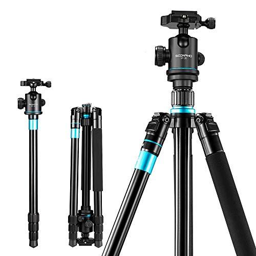 アルミ合金製 カメラ三脚 ビデオカメラ三脚 トラベル三脚 一脚可変式 4段伸縮 逆向き折畳 360度パノラマ雲台 レバーロック クイックシュー式 軽量 コンパクト 三脚バック付き デジタルカメラ 一眼レフ DSLR ミラーレス スマホ等対応、キャノン ニコン ソニー オリンパスなどに適用