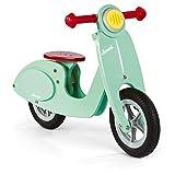 Janod- Bici Senza Pedali in Legno Scooter, Look Vintage, Apprendimento Equilibrio e Autonomia, Sellino Regolabile, Ruote Gonfiabili, a Partire da 3 Anni, Colore Verde (Menta), J03243