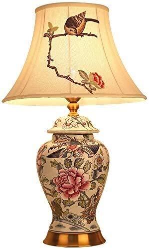 Vinteen La creatividad de noche lámpara de mesa europeos cerámica moderna cubierta luz del escritorio de la lámpara Con bordado arpillera Shade resina pétalos rosados del florero por estar j