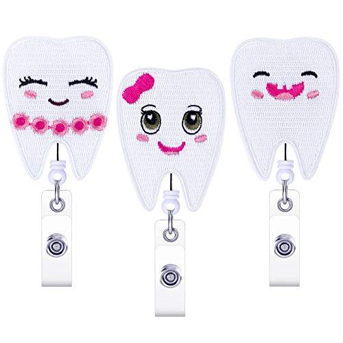 3 Pieces Retractable Tooth Badge Reel Teeth Shape Badge Holder Cute Felt Nursing Name Badge Reel ID Badge Holder with Belt Clip for Nurse Doctor Dentist Student, 3 Styles