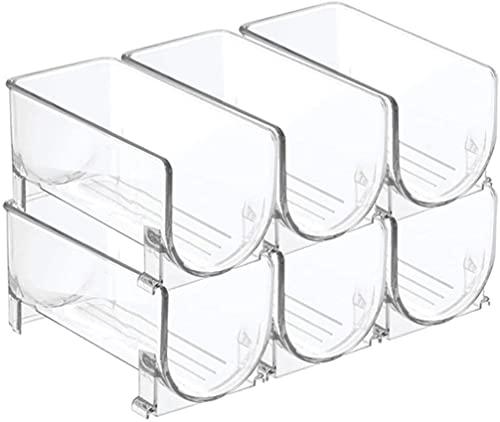 Bedspread Organizador apilable de Vino y Agua para Nevera - Soporte de Botella de Vino de plástico Transparente para despensa, Cocina (tamaño: 6 Botellas)