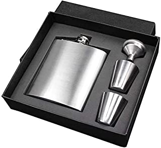 Portable Stainless Steel 7 oz Pocket Hip Flask Alcohol Whiskey Liquor Screw Cap with Funnel Portable Flagon Bottle and Fun...