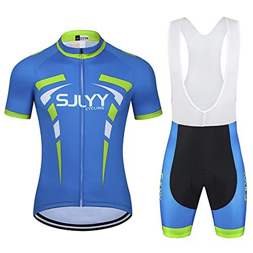 JQKA Conjunto de Ciclismo para Hombre, Maillot de Manga Corta + Culote Pantalones Cortos Acolchado 3D para Bicicleta de Verano(Size:X-pequeño,Color:Azul)