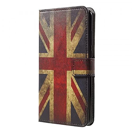 Cover-Discount Funda de Piel para Huawei P20, con Tarjetero y diseño Retro de la Bandera de Reino Unido