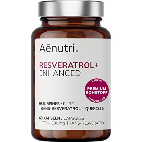NEU: Resveratrol Plus hochdosiert | 500mg Premium Trans Resveratrol aus Schweiz je Kapsel | Optimierte Formel mit Quercetin | Laborgeprüfte Qualität aus DE | 60 Kapseln