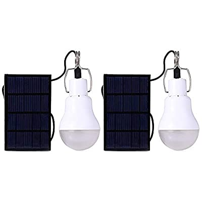 Solar Light Bulb Outdoor Afoskce 130LM Portable Solar Powered Led Bulb Light for Chicken Coops Shed Hiking Fishing Camping Tent Lighting(2Pack)
