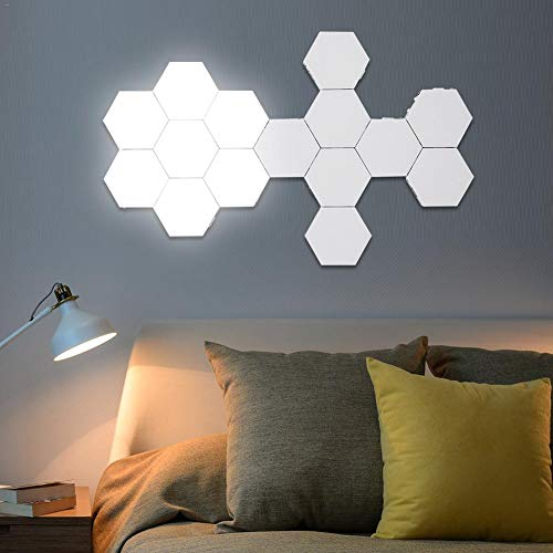 Quantum LED-Licht LED, Mosaik Hex Modular Light Touch-Sensor-Licht-Nachtlicht kreative Magnetic Wand zu Wand Geometric (Optional Spezifikation), 15PCS