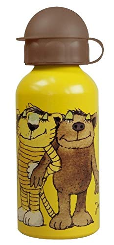 p:os 66093 Trinkflasche mit Janosch Motiv, aus Aluminium, bpa-und phthalatfrei, Fassungsvermögen Circa 400 ml, ideal für Unterwegs, Schule und Sport, für Jungen und Mädchen