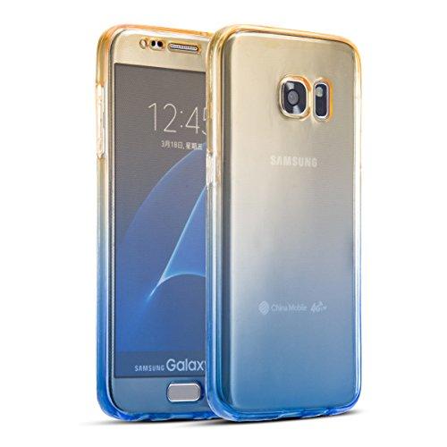 SevenPanda Samsung Galaxy J5 2017 J530(EU Version) Hülle Silikon Transparent 360 Grad OneFlow Double Cover Handyhülle Schutzhülle für Samsung J530 Galaxy J5 2017 Case Dünn Tasche - Gelb/Blau