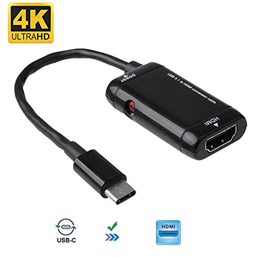 Deng Xuna USB C zu HDMI Adapter, Type C to HDMI Adapter 4K HDMI Cabel USB Typ C USB 3.1 Kabel für MHL, MacBook Pro, iMac, MacBook, ChromeBook, Samsung, Tablet (Schwarz)