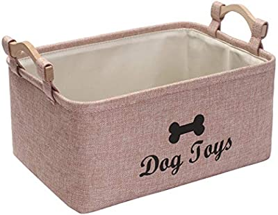 Morezi Linen-cotton dog toy box and puppy stuff storage basket organizer - perfect for organizing pet toys, blankets, leashes, vest, chew toy and clothes - Pink