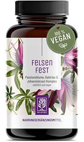 FELSENFEST - Johanniskraut Baldrian Passionsblume Kapseln hochdosiert - St Johns Wort mit Folsäure & B12 - Vegan - 90 Kapseln