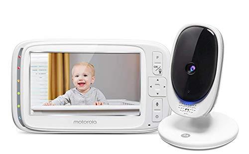 """Motorola Comfort 50 - Baby video monitor con schermo a colori da 5"""", zoom digitale, audio bidirezionale, visione notturna a infrarossi e 5 ninne nanne rilassanti - Bianco"""