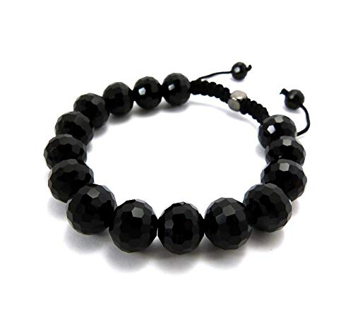 Uniclife Natural 10mm Faceted Black Gemstone Beads Bracelet