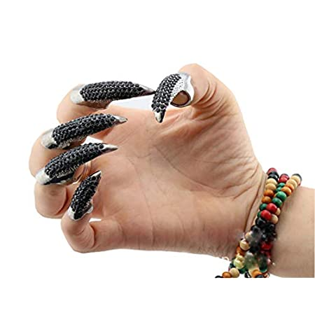 Beauty Shopping VANTOBEST 5Pcs Gothic Punk Style Eagle Claw False Nails Ring