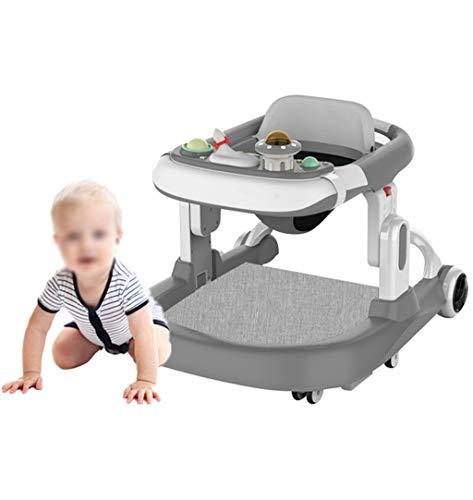 NHK-MX Multifunción Andador de Actividades o tacatá para bebés de 7 a 15 Meses con Caja de Musica Almohadilla para el pie Carga máxima 25 kg (Color : Gray)