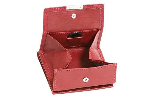 LEAS Wiener-Schachtel mit großer Kleingeldschütte und RFID Schutzfolie, Echt-Leder, cherry/rot Special Edition