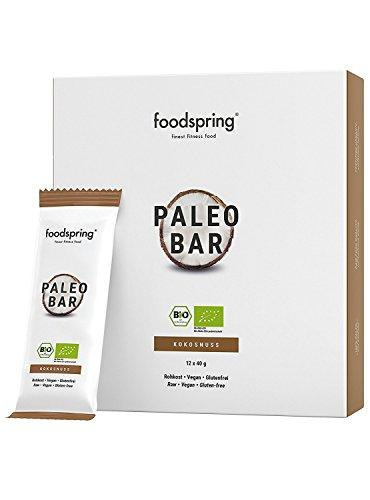 foodspring Orgánica Paleo Bar pack de 12, Coco, Tal y como todas las barritas de frutas deberían ser