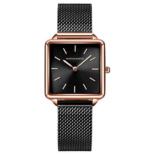 Relojes de Cuarzo Mujeres Dial Cuadrado Casual Business Reloj de Pulsera de Malla de Acero Inoxidable Rose Gold/Silver
