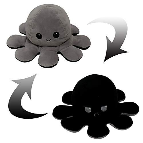 Flip Plüsch Oktopus Spielzeug Puppe,Mood Octopus üße Wendepuppe Stofftierpuppe für Kinder Erwachsene als Geburtstagsgeschenk