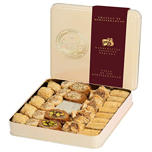 Baklava Baklawa Tin Gift Box 700g, Luxury Assorted Sweet Mixture, Chateau de Mediterranean